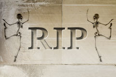 Engraved Gravestone RIP Skeleton Stock Photo