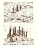 Engraved hand drawn in old sketch and vintage style. Engraved hand drawn in old sketch and vintage style for label. Italian Tuscany fields background and Royalty Free Stock Photos