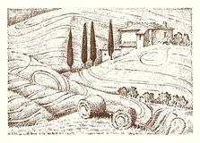Engraved hand drawn in old sketch. Engraved hand drawn in old sketch and vintage style for label. Italian Tuscany fields background and cypress trees Royalty Free Stock Photos