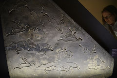 Engraved Hunting panel in the Museum of Oriental Arts in Rome Italy Royalty Free Stock Image