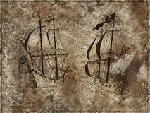 Engraved illustration of old ships battle on textured grunge background. Engraved illustration with graphic drawing of old sailing ships battle on textured Royalty Free Stock Photography
