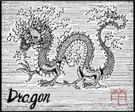 Engraved illustration of zodiac symbol with dragon and lettering Royalty Free Stock Photos