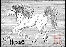 10a_Engraved illustration of zodiac symbol with horse and lettering Royalty Free Stock Photography