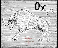 Engraved illustration of zodiac symbol with ox and lettering Stock Images