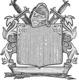 Engraved Knight Crest Stock Photography