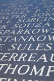 Engraved Letters. Abstract closeup of engraved names on the Iwo Jima war memorial stock images
