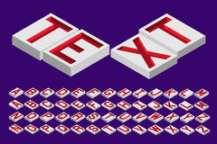 Engraved letters isometric top Royalty Free Stock Image