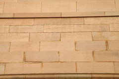 Engraved name of the soldiers on the bricks of India Gate Royalty Free Stock Photo
