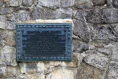Engraved plaque noting John Brown's visit, Fort Ticonderoga,New York,2014 Royalty Free Stock Images