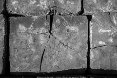 Engraved Railroad Tie in Black and White Stock Photo