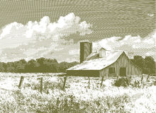 Engraved Red Barn and Silo Stock Photography