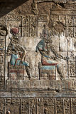 An engraved relief and hieroglyphs at the Temple of Horus at Edfu in Egypt. stock photos