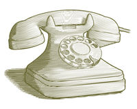 Engraved Retro Phone Stock Photo
