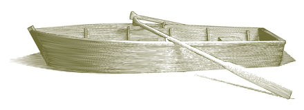 Engraved Row Boat. Engraved-style illustration of a wooden row boat with oars royalty free illustration