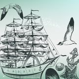 Engraved sea pattern with ship, shells and sea-gulls in old-fash. Vector retro back with detailed ship in vintage style Royalty Free Stock Photography