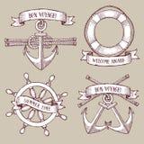 Engraved set of marine icons Stock Photo