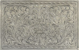 Engraved silver. Antique engraved silver, may be used as decoration stock photo