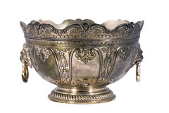 Engraved silver bowl isolated Royalty Free Stock Photo
