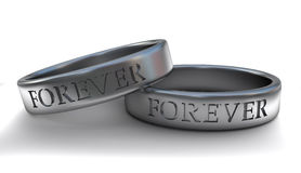 Engraved silver wedding rings Stock Image