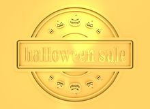 Engraved stamp with Halloween Sale text. Carved stamp with Halloween Sale text and pumpkins icons. 3d rendering. Metallic material. Golden seal Royalty Free Stock Images