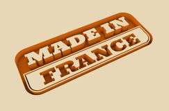Engraved stamp with made in France text. Carved stamp with made in France text. 3d rendering royalty free illustration