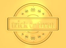 Engraved stamp with trick or treat text. Carved stamp with trick or treat text and pumpkins icons. 3d rendering. Metallic material. Golden seal Royalty Free Stock Image