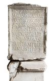 Engraved stone in Coliseum. With latin letters royalty free stock images