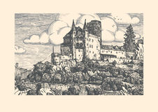 Engraved vector illustration of medieval castle. Stock Photography