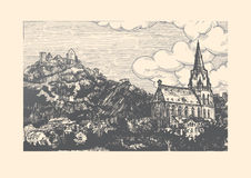 Engraved vector illustration of old village. Vector illustration of old town landscape in vintage etching style. Church of Our Lady is on front, Schönburg Stock Image