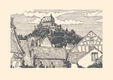 Engraved vector illustration of old village. Vector illustration of old town landscape in vintage etching style. Timber-frame houses is on front, Wernerkapelle Royalty Free Stock Image
