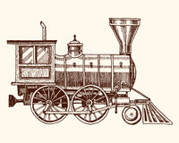 Engraved vintage, hand drawn, old locomotive or train with steam on american railway. retro transport. Royalty Free Stock Image