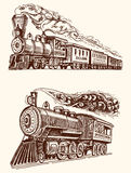 Engraved vintage, hand drawn, old locomotive or train with steam on american railway. retro transport. Stock Images