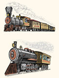 Engraved vintage, hand drawn, old locomotive or train with steam on american railway. retro transport. Stock Photos