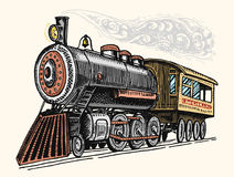 Engraved vintage, hand drawn, old locomotive or train with steam on american railway. retro transport. Royalty Free Stock Photos