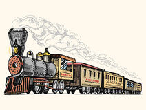 Engraved vintage, hand drawn, old locomotive or train with steam on american railway. retro transport. Royalty Free Stock Images