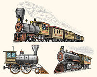 Engraved vintage, hand drawn, old locomotive or train with steam on american railway. retro transport. Stock Photo