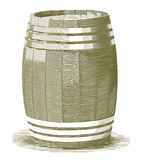 Engraved Wooden Barrel. Royalty Free Stock Images