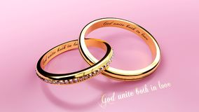 Engraved words on two connected golden wedding rings that symbolize marriage bond, living together forever, close up stock illustration
