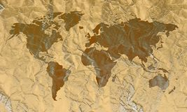 Engraved World Map on Leather. Illustration Royalty Free Stock Photo