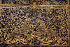 Engraveds Schatzkasten (Thailand-Kultur) lizenzfreies stockbild