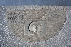 Engraving above cement in honor of the Spanish Bullfighter Cayetano Ordóñez y Aguilera Stock Image