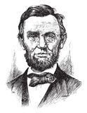 Engraving of Abraham Lincoln. Engraved illustration of American president Abraham Lincoln, white background Stock Photography