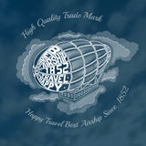 Engraving airship into clouds with text happy travel best airship on face of dirigible. Royalty Free Stock Photo