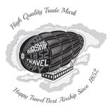 Engraving airship into clouds with text happy travel best airship on face on white Stock Photos