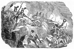 Storming of Chapultepec in Mexico. Engraving of American soldiers storming the grove  of Chapultepec to break up a foundry for making Mexican cannons, September Royalty Free Stock Photos