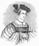 Portrait of Anne Boleyn, second wife to Henry VIII. Engraving of Anne Boleyn, second wife to Henry VIII, Tudor King of England. From Elizabeth, by Jacob Abbott Stock Images