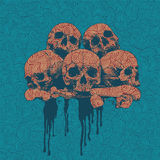 Engraving background with a skulls Stock Photo