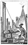 Engraving, beheading guillotine allegory Stock Photography