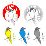 Engraving bird nightingale emblem vector Royalty Free Stock Photography