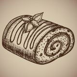 Engraving chocolate roll. Delicious homemade pastry in the sketch style. Vector illustration. EPS. 10 Royalty Free Stock Photo